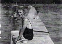 Minnie on the dock