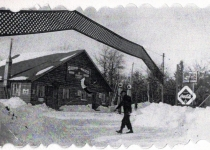 Edward (Bud) Schmidt, Ed & Minnies son, shoveling snow