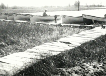 Wooden boats in bay at SWR 1940's